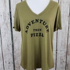 ♥Cold Rush Graphic T Adventure Then Pizza Green Lg